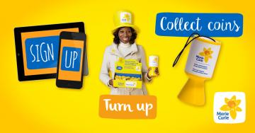 Sign up, turn up, collect coins, Great Daffodil Appeal 2016