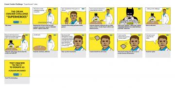 """Superheroes"" storyboard, The Marie Curie Cream Cracker Challenge"